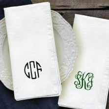 Embroidered Cotton Tea Towels - Monogrammed