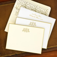 Gold Hand Bordered Correspondence Cards - with Monogram