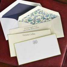 Gold Hand Bordered Slender Correspondence Cards