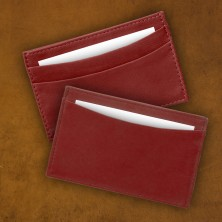 Leather Business Card Holder - Red