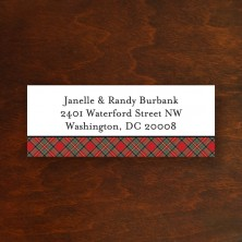 Plaid Red Address Label