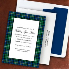 Black Watch Plaid Holiday Invitation