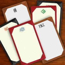 Leather Note Holder - Grid - with Monogram