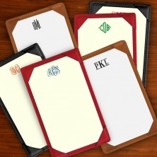 Leather Note Holder - Lined - with Monogram