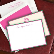 Hot Pink/Kelly Green Double Hand Bordered Cards
