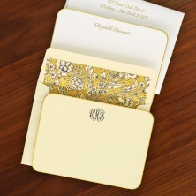 Gold Rounded Hand Bordered Correspondence Cards