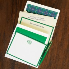 Navy and Green Double Bordered Correspondence Cards