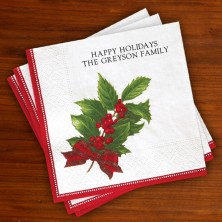 Caspari® Holly Christmas Luncheon Napkin