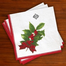 Caspari® Holly Christmas Luncheon Napkin with Monogram