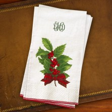 Caspari® Holly Christmas Guest Towel