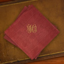 Caspari® Cranberry Moire Luncehon Napkins with Monogram