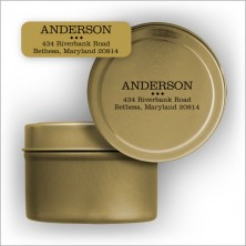 Gold Foil Address Labels with Tin