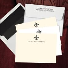 Prentiss Letterpress Correspondence Cards - Fleur De Lis Design