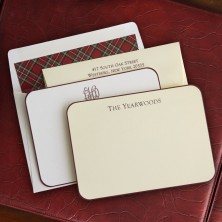 Wine Rounded Hand Bordered Correspondence Cards