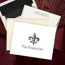 Prentiss Letterpress Fold Note -  Fleur De Lis