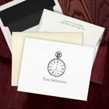 Prentiss Letterpress Fold Note -  Clock