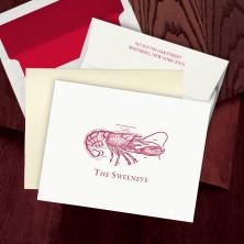 Prentiss Letterpress Fold Note -  Lobster