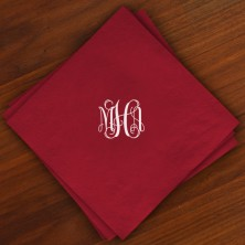 Caspari® Cranberry Dinner Napkins with Monogram