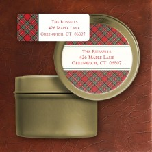 Tartan Address Labels with Label Tin