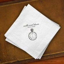 Prentiss Beverage Napkins - Clock Design