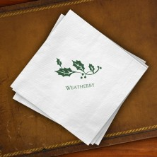 Prentiss Beverage Napkins - Holly Design