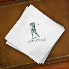 Prentiss Beverage Napkins - Golfer Design