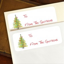 "Christmas Tree To:/From: Labels 2 5/8"" x 1"""