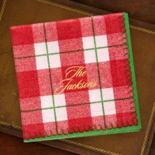 Red Plaid Cocktail Napkins