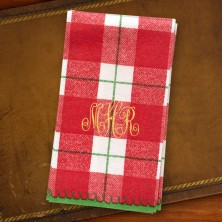 Red Plaid Guest Towels - Monogram