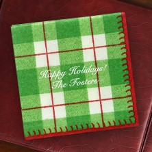 Green Plaid Cocktail Napkins