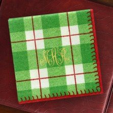 Green Plaid Cocktail Napkins Monogram