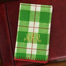 Green Plaid Guest Towels - Monogram