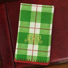 Green Plaid Guest Towels - Monogram