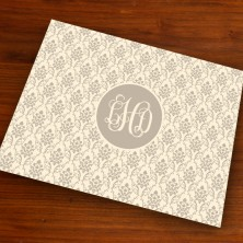Merrimade Designer Paper Placemats - with Monogram - Taupe Damask