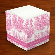Merrimade Self Stick Memo Cubes - Pink Toile