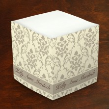 Merrimade Self Stick Memo Cubes - Taupe Damask