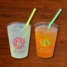 Designer 8 oz. Clear Tumblers - with Design