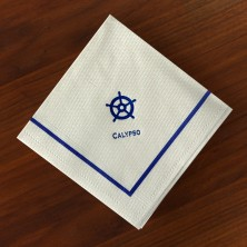 Designer Textured Beverage Napkins - Single Blue Border