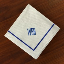 Designer Textured Beverage Napkins - Single Blue Border with Monogram