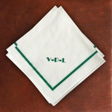 Designer Textured Beverage Napkins - Single Green Border with Monogram