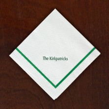 Textured Beverage Napkins - Solid Green Border