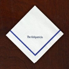 Textured Beverage Napkins - Solid Blue Border
