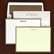 Hampton Correspondence Cards - Gold & Chocolate