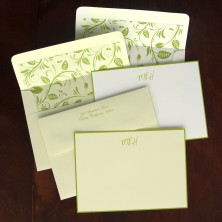 Apple Green Hand Bordered Correspondence Cards