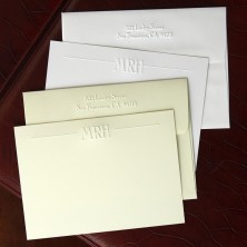 Imperial Embossed Correspondence Cards - Initials