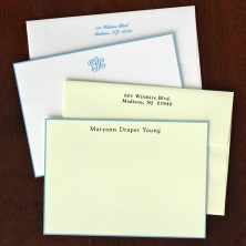 French Blue Bordered Correspondence Cards