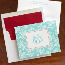 Coral Repeat Teal Fold Notes