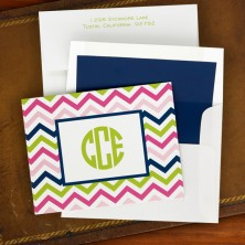 Chevron Pink, Navy & Lime Fold Notes