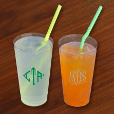 Designer 16 oz. Clear Tumblers - with Monogram