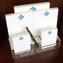 Personalized Memo Pad Set & Acrylic Holder - with Monogram